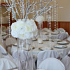 Centerpiece with snow like covered branches with icicles