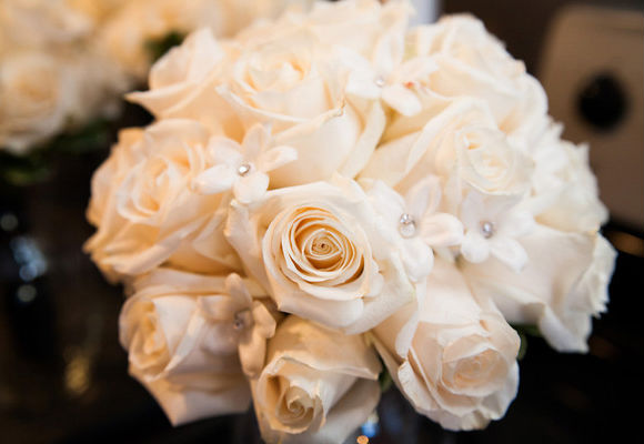 Elegant white rose nosegay bouquet
