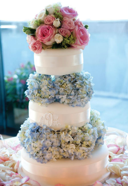 Romantic white three tier cake with blue hydrangea trim and pink rose bouquet topper