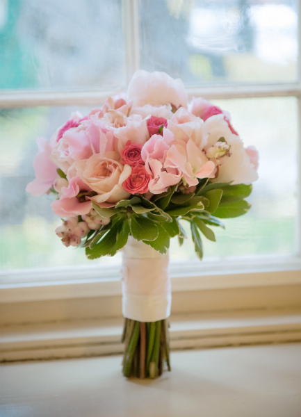 Ideas for your bridal bouquet and wedding flowers todaysbride classic bouquet with hot pink light pink and white roses and white peonies mightylinksfo