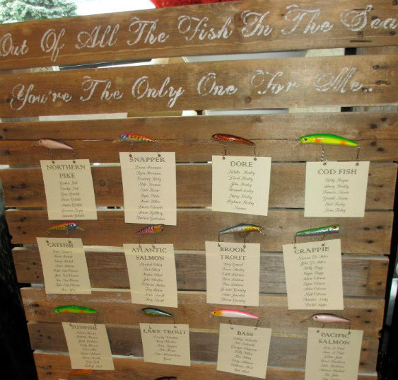 Unique seating chart using a fishing theme