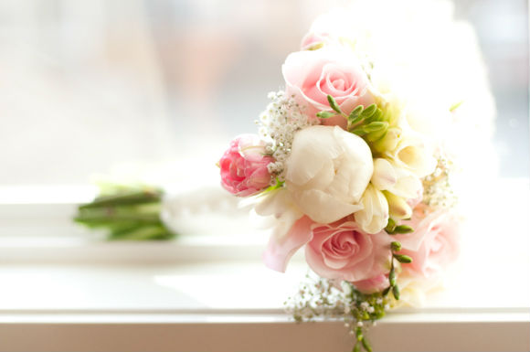 Ideas for your bridal bouquet and wedding flowers todaysbride pink green and white hand tied rose bouquet mightylinksfo