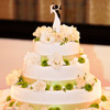 3 tier white cake with white roses, green flowers and dancing bride & groom cake topper