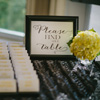 Small white place cards with yellow font on a black table